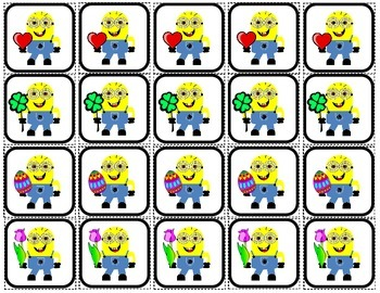 """Minions"" 2x2 Picture Squares for Autism"