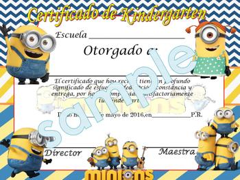 Minions Achievement award English / Spanish version