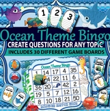 Back to School Bingo Ocean Theme  (3 topics included with editable templates)