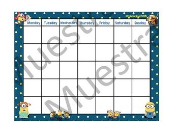 """Minions Calendar (24""""X18"""")"""