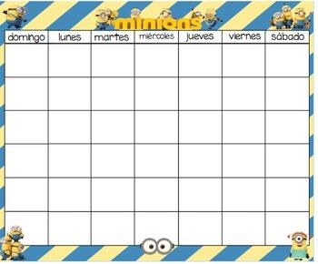 Minions Calendar & numbers 24x20