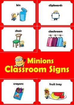 Minions Classroom Signs. ENGLISH.