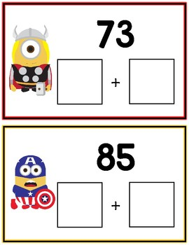 Minions Expanded Form Math File Folder Game Common Core Place Value Tens & Ones