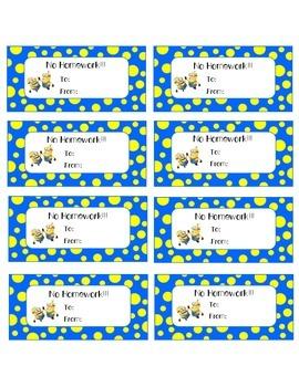 Minions Homework Passes