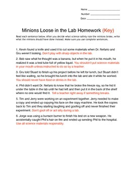 Minions Loose In The Lab Homework