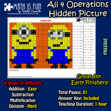 Minions Mystery Picture - 4 operations - add, sub, multiplication and division