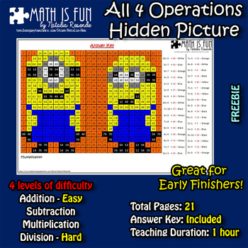 Minions Mystery Picture - 4 operations - add, sub, multipl