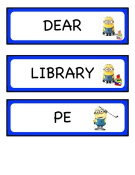 Minions Schedule Cards