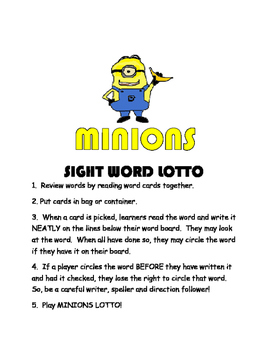 Minions Sight Word Lotto Read and Write High Frequency Words RF.1.3g L.1.2d