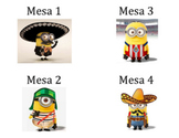 Minions Table Number Signs in Spanish