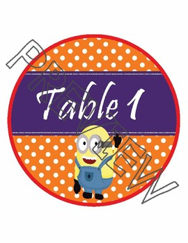 Minions Team & Table Circle Signs - EDITABLE