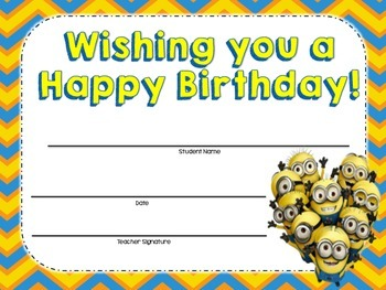 Minions Themed Birthday Certificates