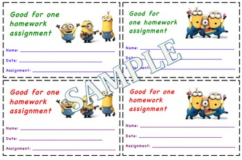 Minions Themed Homework Passes