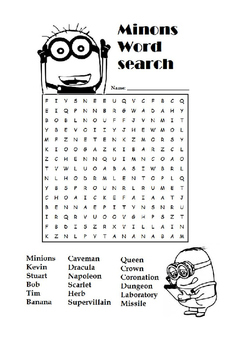 Minions Word Search