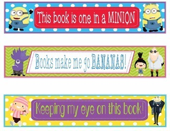 Minions and Despicable Me Bookmarks, Shelf Markers or Name Plates - EDITABLE