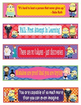 Minions and Despicable Me Growth Mindset Bookmarks Markers Name Plate -EDITABLE