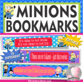 Minions and Despicable Me Growth Mindset Bookmarks Markers