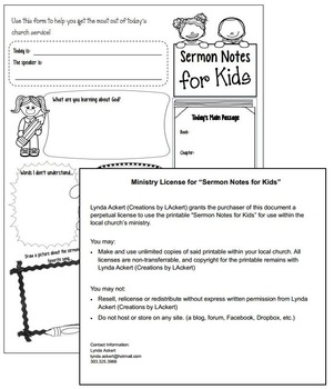 Ministry License for Sermon Notes for Kids