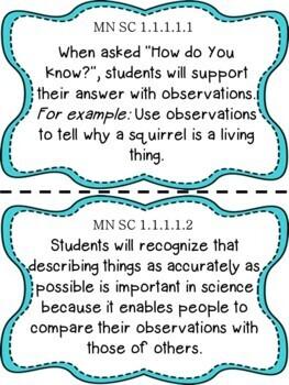 Minnesota 1st Grade Learning Objective Standards Cards | Science