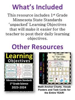 Minnesota 1st Grade Learning Objective Standards Cards   Social Studies