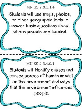 Minnesota 2nd Grade Learning Objective Standards Cards | Social Studies