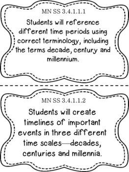Minnesota 3rd Grade Learning Objective Standards Cards | Social Studies