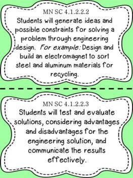 Minnesota 4th Grade Learning Objective Standards Cards | Science