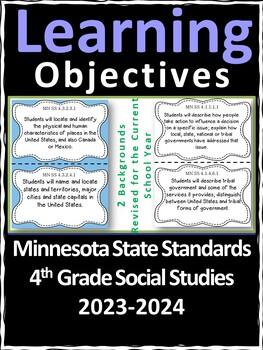 Minnesota 4th Grade Learning Objective Standards Cards   Social Studies