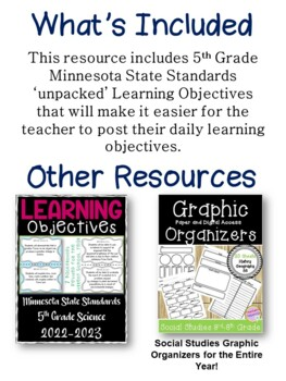 Minnesota 5th Grade Learning Objective Standards Cards | Social Studies