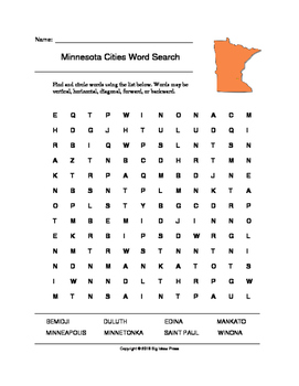 Minnesota Cities Word Search (Grades 3-5)