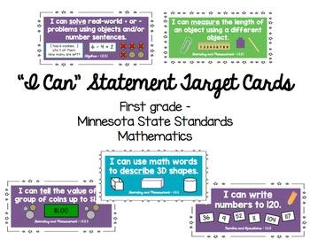 "Minnesota First Grade Mathematics ""I Can"" Statement Cards"