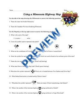 Minnesota Highway Map Scavenger Hunt