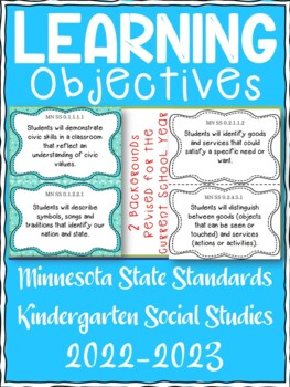 Minnesota Kindergarten Learning Objective Standards Cards | Social Studies