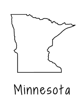 Minnesota Map Coloring Page Craft - Lots of Room for Note-Taking & Creativity