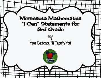 "Minnesota Mathematics Standards for 3rd Grade ""I Can"" Statements"