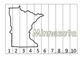 Minnesota Number Sequence Puzzle.  Learn the States preschool printable game.