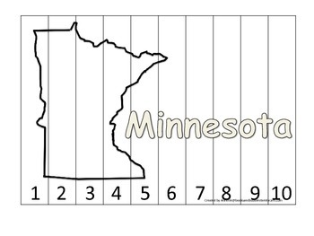 Minnesota Number Sequence Puzzle.  Learn the States presch
