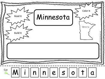 Minnesota Read it, Build it, Color it Learn the States preschool worksheet.