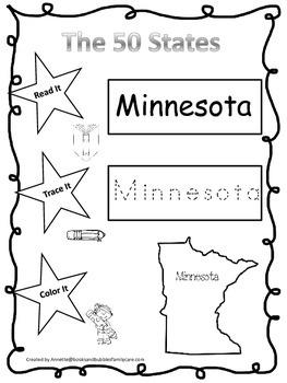 Minnesota Read it, Trace it, Color it Learn the States preschool worksheeet.