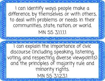 "Minnesota Social Studies 3rd Grade Standards ""I Can"" Statements"