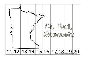 Minnesota State Capitol Number Sequence Puzzle 11-20.  Geography and Numbers.