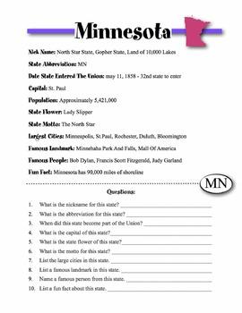 Minnesota State Information & Worksheet