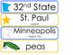 Minnesota State Word Wall Bulletin Board Set. Geography Cu