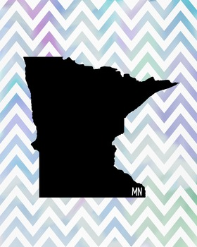 Minnesota Chevron State Map Class Decor, Government, Geography
