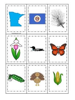 Minnesota themed Memory Matching and Word Matching preschool curriculum game