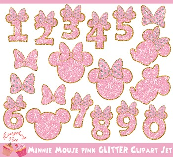 Minnie Mouse Pink Glitters Numbers Clipart Set