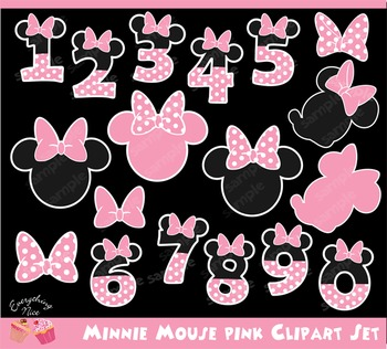 Minnie Mouse Pink Numbers 2 Clipart Set