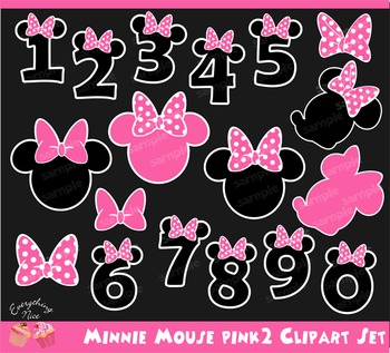 Minnie Mouse Pink Numbers Clipart Set