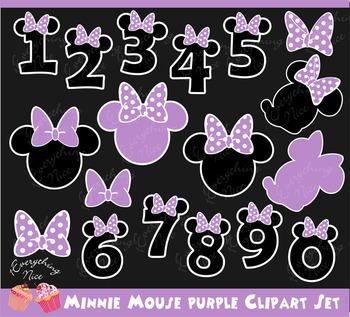Minnie Mouse Purple Lavender Clipart Set