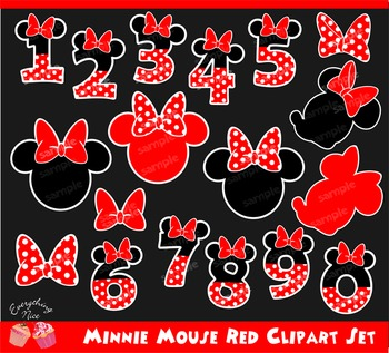Minnie Mouse Red Numbers Clipart Set